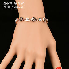 Charm Zircon Black Rose Flower Bracelets Bangle For Women 18K Rose Gold Sl238