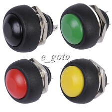 4pcs Black+Red+Green+Yellow 12mm  Push buttonSwitch Waterproof Momentary 250V 1A