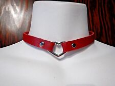 RED faux Leather choker Heart Ring rivets snaps collar punk necklace vegan O5