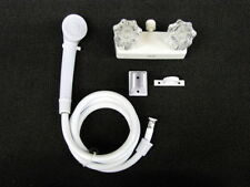 """4"""" Shower Faucet & Shower Wand RV Marine White w/clear Handles Free Shipping!"""