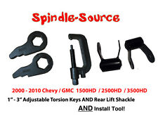 "00 10 Silverado Sierra 2500 3500 HD Lift Level 3"" Torsion Keys + SHACKLES + TOOL"