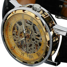 Winner Men's Gold Dial Skeleton Black Leather Mechanical Sport Army Wrist Watch