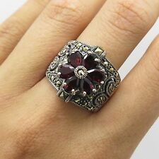 CFJ Vtg 925 Sterling Silver Natural Garnet Marcasite Gemstone Wide Ring Size 8