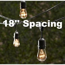 12 Bulbs Vintage Patio String Lights Edison Bulbs 18'' spacing - 24' Long