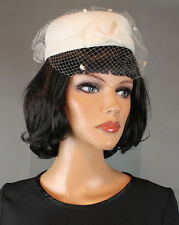 Vintage Pillbox Hat 50s Off White Tulle Netting Birdcage Veil Bridal Fascinator