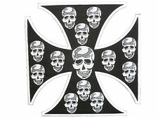 Maltese Iron Skull Cross Mc Rider Biker 1%er Big XL Embroidered Back Patch 8.5""
