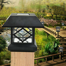 Black Outdoor Garden Solar LED Post Deck Cap Square Fence Light Landscape Lamp