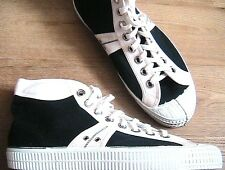RARE 1960s MEN HIGH TOP SNEAKERS -BLACK & WHITE CANVAS -VINTAGE DEADSTOCK- 9/9.5