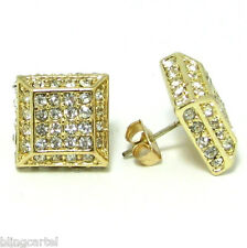 Square 3d Pyramid Gold Tone Iced-Out Micro Pave Hip Hop Cz Cube Stud Earrings