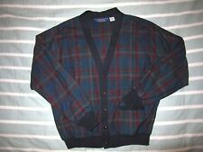 Vintage Pendleton Cardigan Sweater Light Jacket Made USA 100% Wool Mens XL Plaid