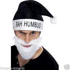 Smiffy's Santa Adult Fancy Dress Christmas Party Black Hat Beard Glasses Set