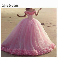 New Pink Tulle Quinceanera Dresses Sweetheart Ball Gown Prom Dresses Custom Size