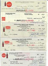 5 Vintage Coca-Cola Checks