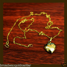 Heart Pendant Singapore Link Chain Necklace 14k Solid Yellow ONLY $121.50