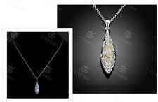 Tropfen Anhänger mit leuchtender Stein und Halskette Silberüberzogen