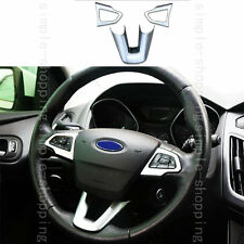 3pcs Chrome ABS Interior Steering Wheel Cover Trim Silver For Focus 2015-2017