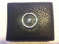 Black Genuine Leather Wallet, Versace, Bi-fold, NIB