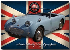 AUSTIN HEALEY FROG EYE SPRITE METAL SIGN.GARAGE SIGN.BRITISH CARS.