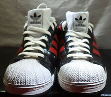 Adidas Men's Superstar Shell Toe Black Red White Tri Fold Patent Leather Size 12