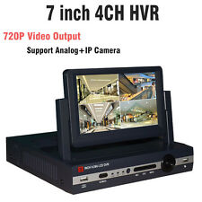 7 inch LCD CCTV 4CH Channel 720P AHD DVR Hybrid HVR NVR for Analog IP Camera