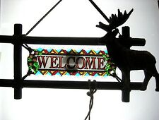 """AMIA STAINED GLASS SUNCATCHER 10.5"""" x 6"""" DEER WELCOME  #6209"""