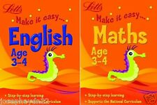 2 x NEW Letts MAKE IT EASY - ENGLISH  & MATHS age 3-4 ( Key Stage 1 ) age 3 4