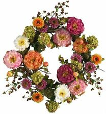 Nearly Natural 4664 Peony Wreath- 24-Inch- Mixed