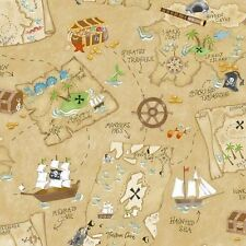 Little Boy's Pirate / Pirates Treasure Chest Map Wallpaper YS9294