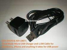 Micro-USB Charger ASY-24479 + 1.5M Cable ASY-18071 for Blackberry and iPhone