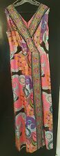 VINTAGE COCKTAIL PARTY DRESS ILGWU 1960-70s PSYCHEDELIC FLORAL GEOMETRIC DESIGN