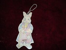 """Wood Rabbit Ornament,Holiday,Christmas  Egg/Cane/pocket Watch Pastel Colors 4.5"""""""