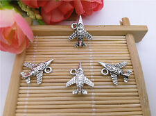 Wholesale Tibet Silver Aircraft Charm Pendant Beaded Jewelry 12pcs DIY T06