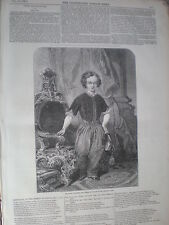 Prince of Wales (King Edward VII) in birthday clothes 1847 old print