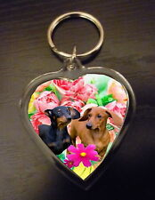 Dachshund Keyring Dog Key Ring heart shaped gift Dachsunds boy or girl Valentine