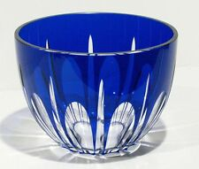 "Cobalt Blue Cut To Clear Signed Block Crystal Art Glass Round Large Vase 8"" Dia."