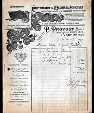 """VERNON (27) MACHINES AGRICOLES / BARATTES BATTEUSES """"MONTANDON / P PROVOST"""" 1905"""