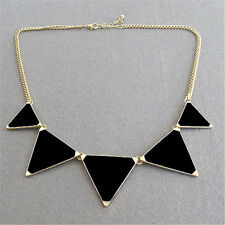 Charm Womens Black Triangle Gold Plated Chain Bib Chunky Statement Necklace Gift