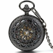 Vintage Roman Numberals Auto Mechanical Steampunk Skeleton Cobweb Pocket Watch