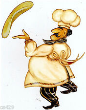 "6.5"" FAT CHEF PIZZA  KITCHEN PREPASTED WALLPAPER BORDER CUT OUT"