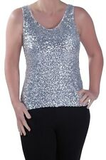 Womens Sequined Scoop Neck Sleeveless Party Ladies Vest Blouse Tunic Top