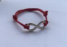 Armband Baumwolle gewachst Leder Infinity rot