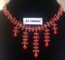 DIAMANTE STATEMENT RED WATERFALL NECKLACE, proms,party,bridesmaid,bride HM18-001