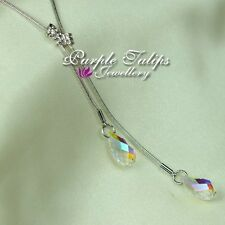 18CT White Gold Plated Double Chain Dangle Necklace W/ Gen Swarovski Crystals