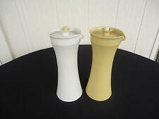 2 vintage retro tupperware oil & vinegar bottles harvest gold & cream