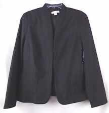 NWT Coldwater Creek Size M (10-12) Black Pinstripe Open Front Jacquard Jacket