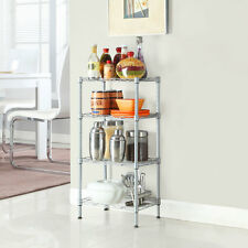 4 Tier Wire Shelving Steel Rack Shelf Adjustable Unit Garage Kitchen Storage
