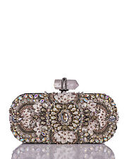Stunning Marchesa Lily Crystal Embroidered Oval Clutch with Black Chain $3295