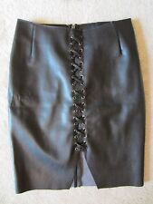 H&M BY NIGHT COLLECTION FAUX LEATHER BLACK STRETCH TIE SKIRT SIZE 6 US/36 EUR