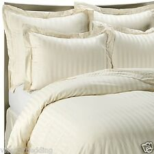Egyptian Cotton 500 Thread Count CLASSIC STRIPE King Bed Size Duvet Cover Cream