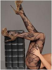 Women Sexy fashion High Stockings Black Sheer Rose Pattern Fishnet Pantyhose